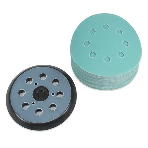 "Copy of Copy of (40 Pack) 5"" 8 Hole 220 Grit Sanding Disc Paper with 5"" 8 Hole Hook and Loop Pad"