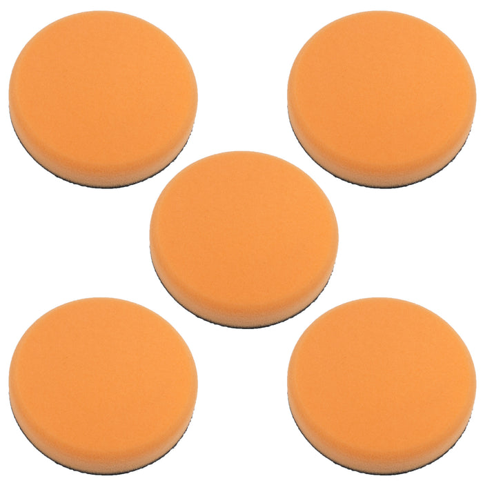 "5"" ORANGE Hook and Loop Firm Cut Foam Polishing Pad (5 Pack)"
