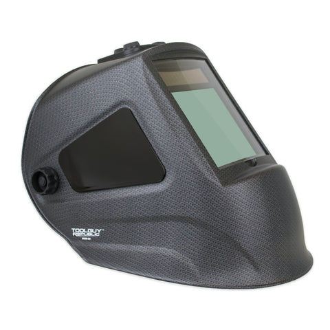 "Matte Carbon Fiber Extra Large View Auto Darkening Welding Helmet 4""W x 3.65""H with SIDE VIEW"