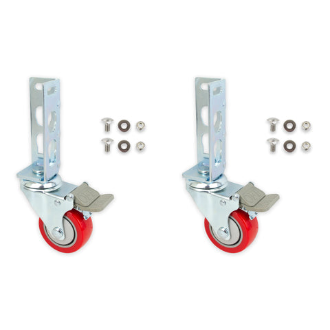 2pc Storage Rack Caster Wheels (Adapts to Boltless Self Locking Shelving Racks)