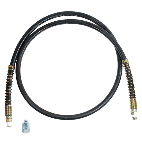 "Hydraulic Hose 10,000 PSI 1/4"" NPT with 1/4"" NPT Hose Side Half Coupler"