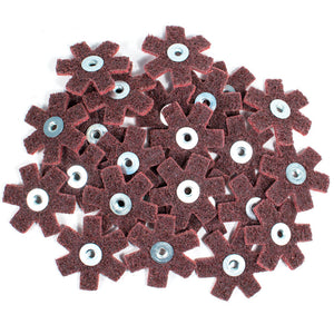 "25pc 2"" Surface Conditioning Star Abrasive Disc -Maroon Medium Grade"