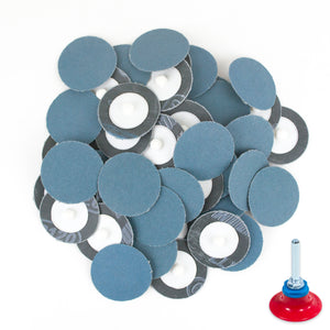 "2 inch 120 Grit Zirconia ""Roloc"" Roll-On Type Abrasive Sanding Discs (50 pcs) with Holder"