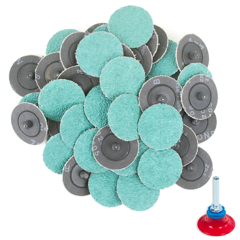 "2 inch 24 Grit Zirconia ""Roloc"" Roll-On Type Abrasive Sanding Discs (50 pcs) with Holder …"