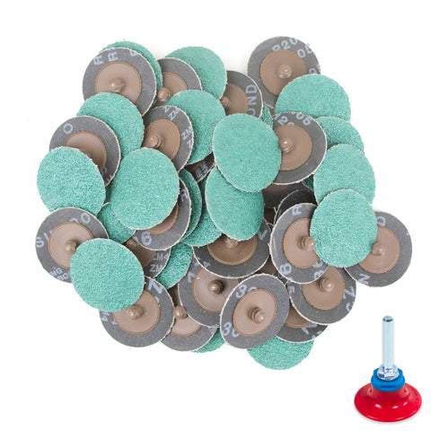 "2 inch 36 Grit Zirconia ""Roloc"" Roll-On Type Abrasive Sanding Discs (50 pcs) with Holder"