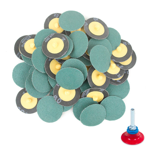 "2 inch 80 Grit Zirconia ""Roloc"" Roll-On Type Abrasive Sanding Discs (50 pcs) with Holder"