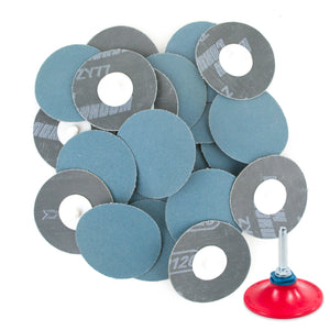 "3 inch 120 Grit Zirconia ""Roloc"" Roll-On Type Abrasive Sanding Discs (25 pcs) with Holder"