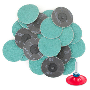 "3 inch 24 Grit Zirconia ""Roloc"" Roll-On Type Abrasive Sanding Discs (25 pcs) with Holder"