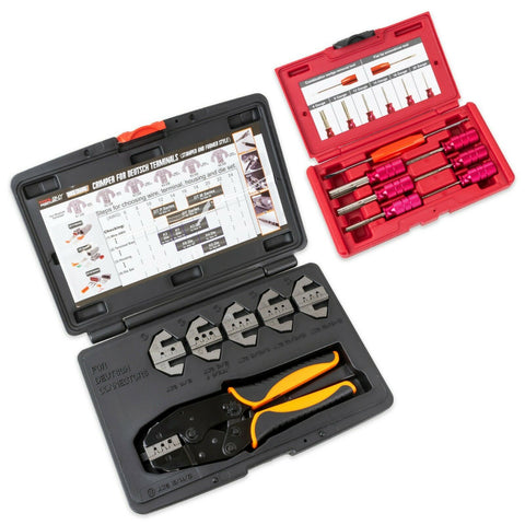 Deutsch Terminal Ratcheting Crimping Tool- Includes 6 Quick Change Dies PLUS 7pc Deutsch Terminal Release/Removal Tool Kit