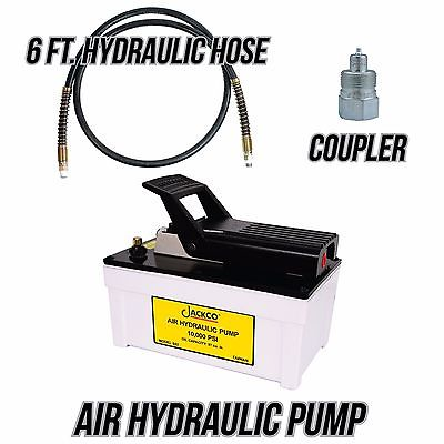 Jackco Air Hydraulic Pump with 6 ft. 10,000 psi Hydraulic Hose and Coupler