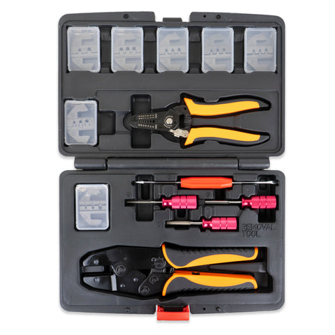 13 pc Deutsch Crimper Kit - Includes Ratcheting Crimper, 7 Dies, Wire Stripper & Removal Tools