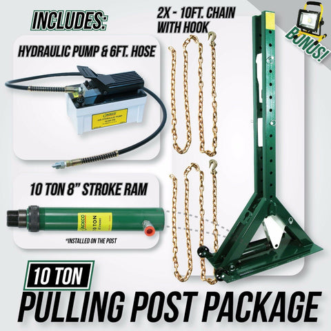 "Jackco 10 Ton - Pulling Power Post 68"" Tall with Pump, 6ft Hose & 10 Ton Ram"