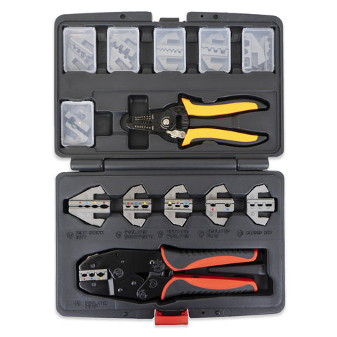 Interchangeable Ratcheting Terminal Crimper Set - 12 Die Sets with Wire Strippers