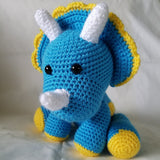 Triceratops Dinosaur Stuffed Toy – Crochet Plush Animal – Nursery Decor