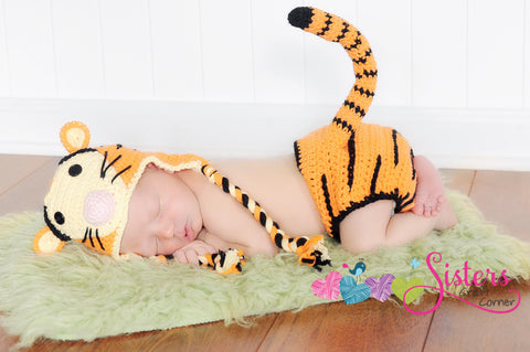 Crochet Tiger Set Character Tiger Hat & Diaper Cover w/ Tail Baby Set, Newborn, Baby, Infant, Beanie
