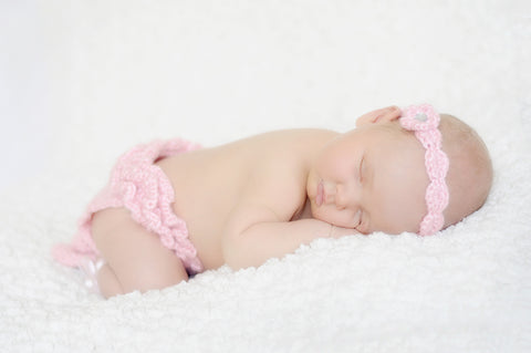 Crochet Newborn Ballerina Set: Headband, Ruffle Tutu Diaper Cover, Ballet Slippers, Pink, Baby Girl