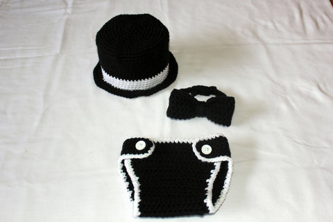 Crochet Baby Tuxedo Top Hat, Bow Tie & Diaper Cover Set - Tiny Tux, Baby Tuxedo Set