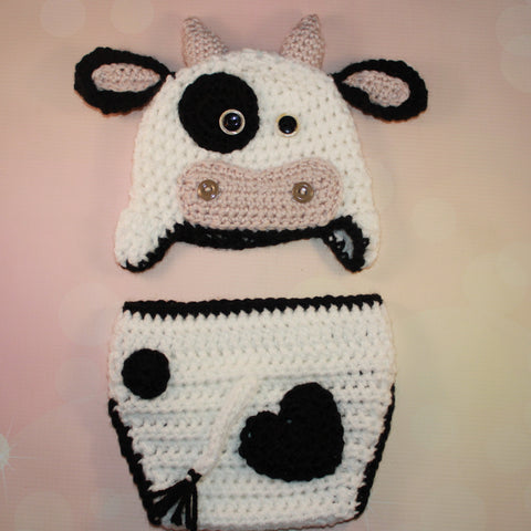 Cow Crochet Baby Outfit with Hat and Diaper Cover - Newborn Photo Prop, Baby Halloween Costume