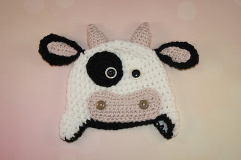 Cow Crochet Baby Outfit With Hat And Diaper Cover Newborn Photo