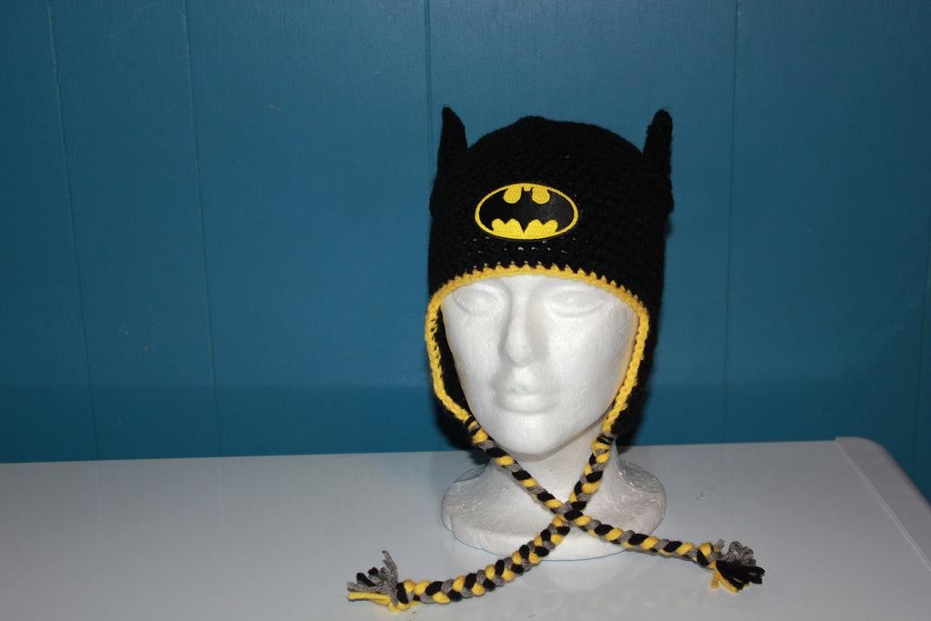Crochet Batman Hat Earflap Beanie, Boy's Super Hero Baby, Toddler, Child, Costume, Photo Prop, Bat Man, Halloween, picture prop, black