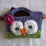 Purple and hot green small handbag with owl face design for little girls