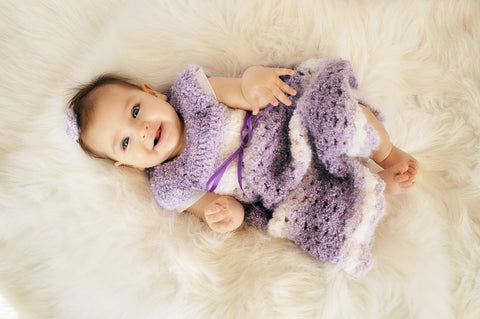 Handmade Soft Purple Crochet Baby Dress, Newborn Crochet Dress, Baby Girl, Baby Shower Gift, Newborn Dress