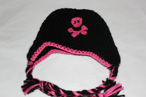 Crochet baby girl pirate earflap hat / Picture prop