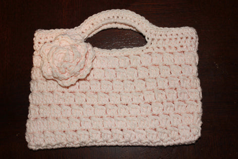 Small Crochet Handbag with Flower - Small Pale Pink Purse - Child Size Purse - Little Girls Bag - Flower Girl Purse - Party Favor Bag