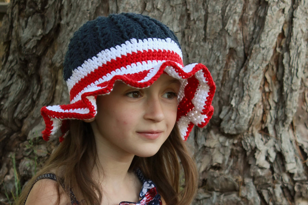 Crochet Summer Sunhat - 4th of July Hat - Flag Sunhat - Crochet Fourth of July Hat - Striped Summer Hat - Patriotic Hat - Girls Summer Hat