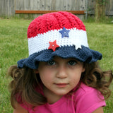 Crochet 4th of July Sunhat - Crochet Summer Sunhat - Fourth of July Hat - 4th of July Crochet Hat - Newborn Photo Prop - Baby Hat - Girls