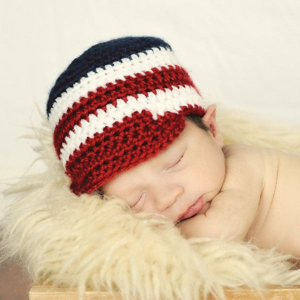 Red, White, and Blue striped Patriotic Baby Newsboy Hat