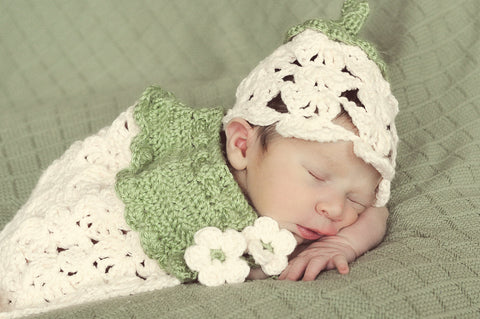Crochet Newborn Flower Hat Cape Set - Fairy Hat - Newborn Lacy Cape - Girl Baby Shower Gift - Spring Flower Cape - Newborn Photo Prop