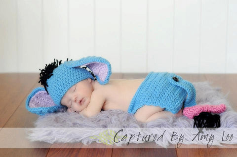 Eeyore Hat and diaper cover w/tail - newborn Donkey Photo Prop