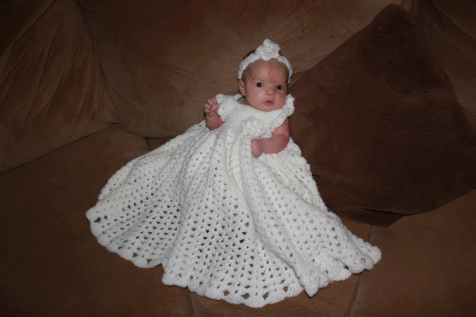 Crochet Baby Dress, Full Skirt Baby Blessing Dress, Christening Gown, Baptism, Special Occasion Dress, White, Newborn, Baby, Infant, picture