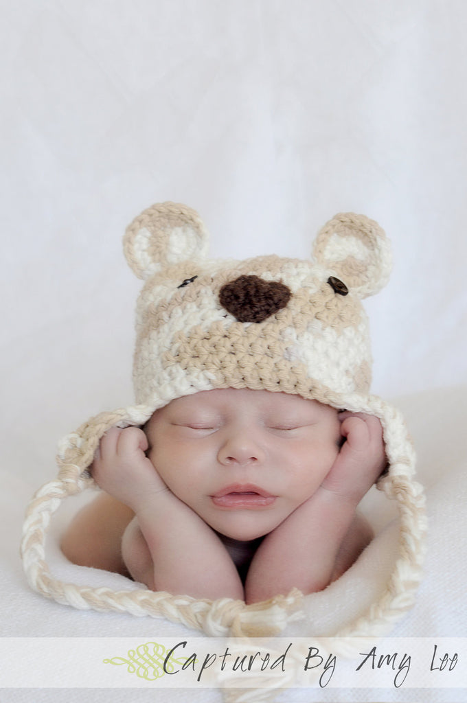 Teddy bear baby earflap hat, hat with ears, brown/tan, crochet, photographer prop, newborn baby hat, boy or girl