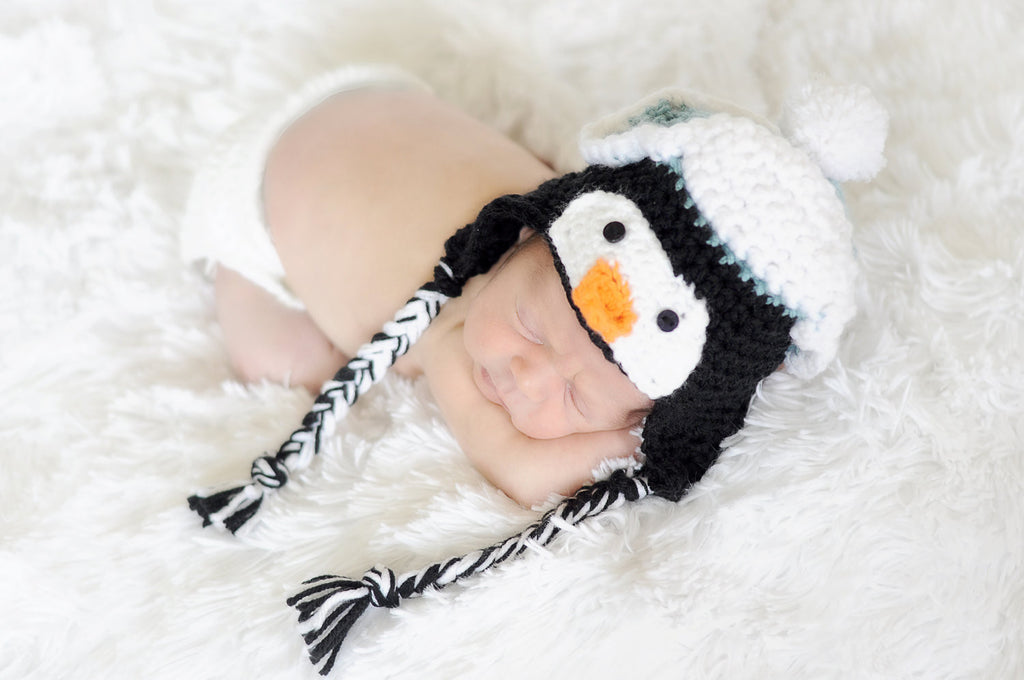 Crochet Penguin Hat - Newborn Penguin Hat - Crochet Animal Hat - Baby Shower Gift - Winter Hat