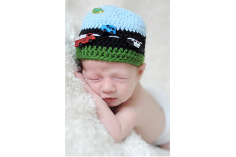 Crochet Car Hat - Road Roadway Hat - Boy Baby Shower Gift - Newborn Photo Prop - Crochet Baby Hat - Race Car - Highway - Construction