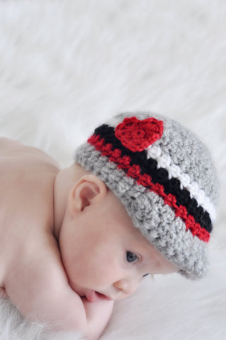 Valentines Day Heart Newsboy Hat – Baby Valentine Hat Photo Prop