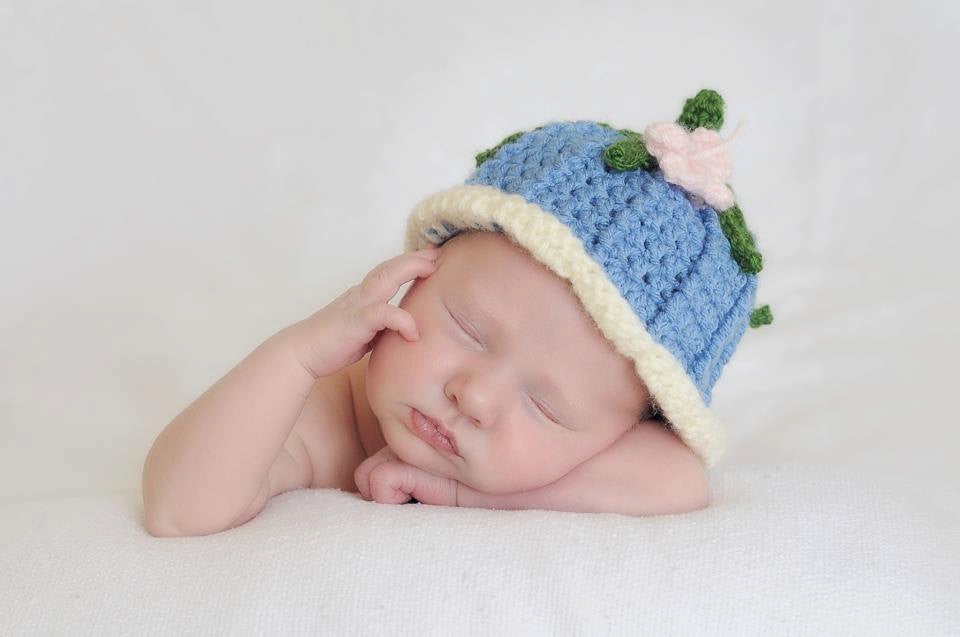 Crochet Bluebell Flower Hat - Butterfly - Blue bell Hat - Newborn Photo Prop - Spring Flower Hat - Crochet Fairy Hat - Girl Baby Shower Gift