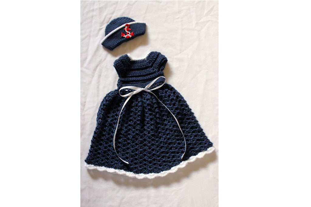 Crochet Baby Girl Sailor Dress Set
