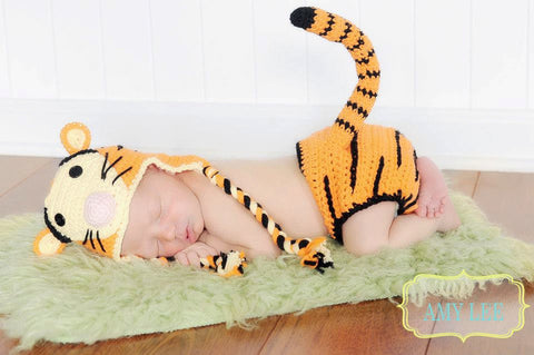 Baby Tiger Hat with matching diaper cover including a tail coordinates perfectly with a Tigger or Winnie the Pooh theme nursery or baby gift