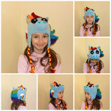 Crochet Blue Rainbow Pony Hat - Horse Hat - Blue Ponies - Winter Hat - Halloween Costume - Rainbow Horse - Crochet Hat - Crochet Pony Hat