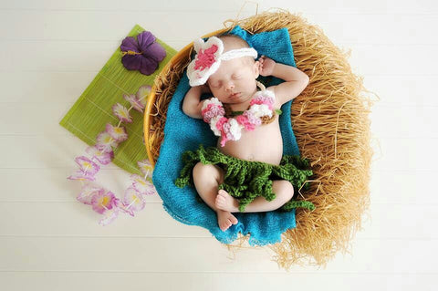 Baby hula crochet set, headband, lei, coconut bra, grass skirt, newborn photo prop, Hawaii, tropical