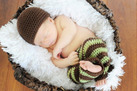 Crochet Baby Pants & Hat Set - Newborn Boy Crochet Set - Stripe Pants - Boy Coming Home Outfit - Baby Shower Gift - Newborn Photo Prop