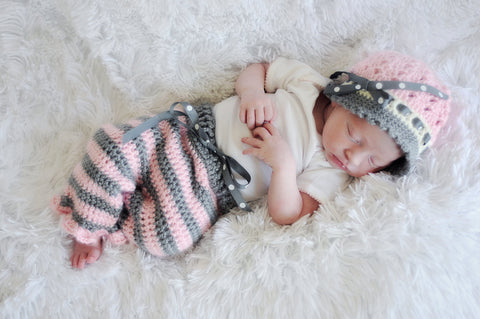 Baby Girl Crochet Pants Hat Set - Stripe Pants - Baby Shower Gift Set - Newborn Pants - Crochet Baby Cloche - Girl Coming Home Outfit