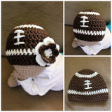 Crochet Football Hat - Crochet Newborn Hat - Sports Hat - Newborn Photo Prop - Custom Team Colors - Baby Shower Gift - Football Hat