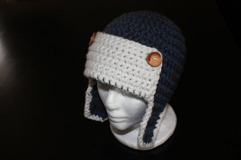 Crochet Aviator Hat with Earflaps - Boy Aviation Hat - Crochet Pilot Hat - Photography Prop - Baby Boy Hat - Newborn Photo Prop - Winter Hat
