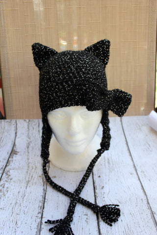 Crochet Black Cat Hat - Animal Hat - Halloween Hat - Costume Accessory - Newborn Photo Prop - Crochet Baby Hat - Infant - Child
