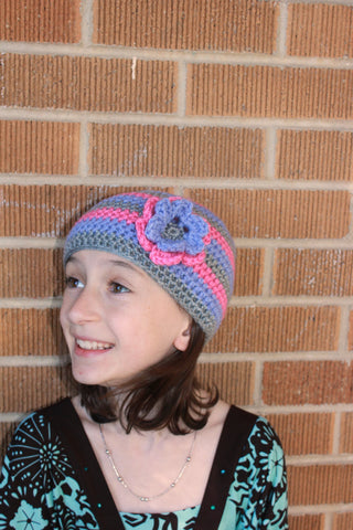 Girls Stripe Crochet Beanie with Flower - Newborn, Baby, Toddler, Child - Pink, Periwinkle, Grey, Classic Beanie, Basic Beanie, Winter Hat