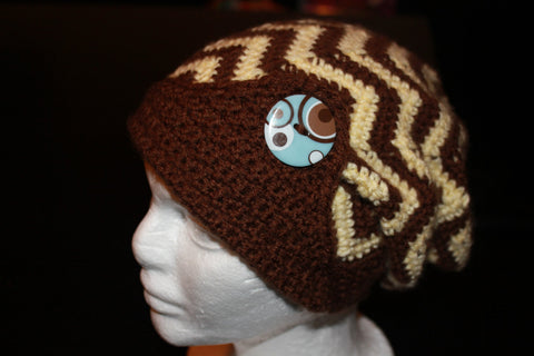 Womens Slouch Hat - Crochet Chevron Slouch - slouchy beanie - Zig Zag Hat - Winter Hat - Fall Hat - Crochet Slouchy Hat - Brown Cream